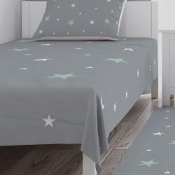 Mint Yeşili ve Beyaz Yıldızlar Kız Çocuk Odası Yatak Örtüsü-CYO635
