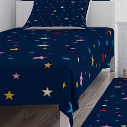 Renkli Yıldızlar ve Koyu Zemin Kız Çocuk  Yatak Örtüsü-CYO643