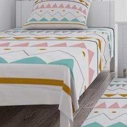 Renkli Üçgenler ve Şekiller Kız Çocuk  Yatak Örtüsü-CYO644