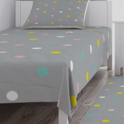 Gri Rengarenk Puantiyeler Kız Çocuk  Yatak Örtüsü-CYO651