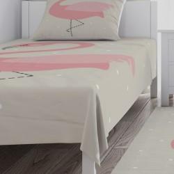 Bej Zemin ve Flamingo Kız Çocuk  Yatak Örtüsü-CYO699