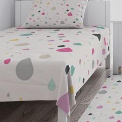Krem Zemin Renkli Damla Taneleri Kız Çocuk  Yatak Örtüsü-CYO701