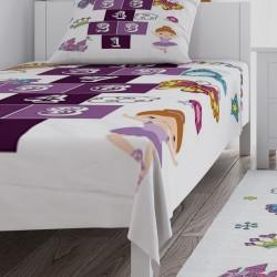 Mor Seksek ve Süs Eşyaları Kız Çocuk  Yatak Örtüsü-CYO715