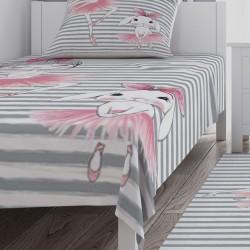 Balerin ve Tavşan Kız Çocuk Odası Yatak Örtüsü-CYO718