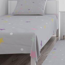 Renkli Yıldızlar ve Puantiyeli Kız Çocuk Odası Yatak Örtüsü-CYO742