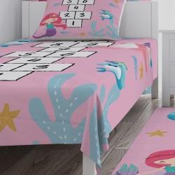 Sevimli Deniz Canlıları ve Seksek Kız Çocuk Odası Yatak Örtüsü-CYO744