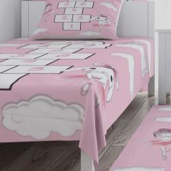 Balerin Tavşan ve Seksek Kız Çocuk Odası Yatak Örtüsü-CYO767