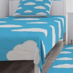 Bulutlu Açık Mavi Çocuk Yatak Örtüsü-CYO77