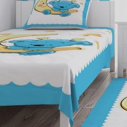 Bebe Mavisi Ay Üstünde Ayicik Bebek Odası  Yatak Örtüsü-CYO82