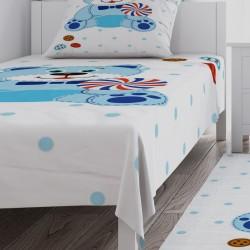 Ayıcık Mavi Puantiyeli Erkek Çocuk Odası  Yatak Örtüsü-CYO84