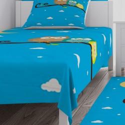 Mavi Zemin Bulut ve Baykuşlar Erkek Çocuk  Yatak Örtüsü-CYO94
