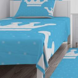 Mavi Zemin Beyaz Büyük Taçlar Erkek Çocuk  Yatak Örtüsü-CYO95