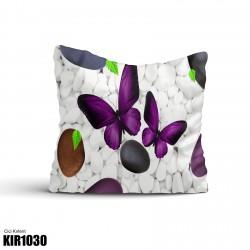 Beyaz Taş Mor Kelebek Desenli Dekoratif Kırlent-KIR1030
