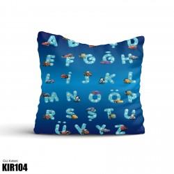Mavi Zemin Harfler ve Sevimli Arabalar Erkek Çocuk Odası Kırlent-KIR104