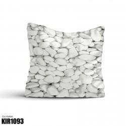 3 Boyutlu Beyaz Taşlar Dekoratif Kırlent-KIR1093