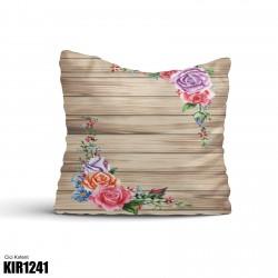 Açık Ahşap Zemin Köşe Çiçek Dekoratif Kırlent-KIR1241