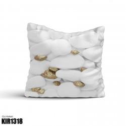 Beyaz Taş Altın Parçalı Dekoratif Kırlent-KIR1318