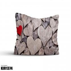 Ahşap Kalpler Dekoratif Kırlent-KIR1374