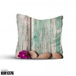 Ahşap Zemin 3 Taş Dekoratif Kırlent-KIR1376
