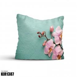 Açık Yeşil Zeminli Dallı Çiçek Dekoratif Kırlent-KIR1387