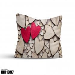 Ahşap Kalp Dekoratif Kırlent-KIR1397