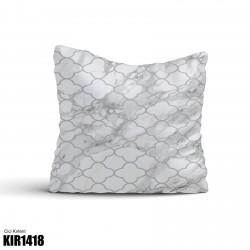 Açık Beyaz Eskitme Desenli Dekoratif Kırlent-KIR1418