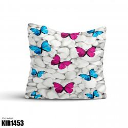 Beyaz Taş Pembe Mavi Kelebek Dekoratif Kırlent-KIR1453