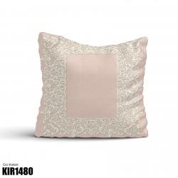 Açık Zemin Beyaz Motif Dekoratif Kırlent-KIR1480