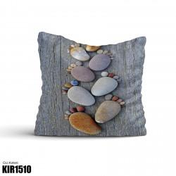 Ayak İzi Renkli Taşlar Dekoratif Kırlent-KIR1510
