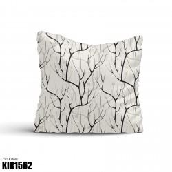 Açık Zemin Ağaç Dalı Desenli Dekoratif Kırlent-KIR1562