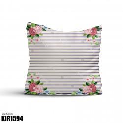 Açık Çizgili Zemin Köşe Çiçek Desen  Kırlent-KIR1594
