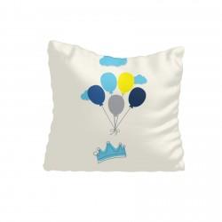 Mavi Taç, Bulutlar ve Renkli Balonlar Erkek Çocuk  Kırlent-KIR219