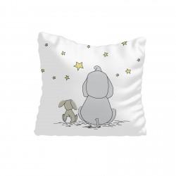 Beyaz Zemin Fil Tavşan ve Yıldızlar Erkek Çocuk  Kırlent-KIR253
