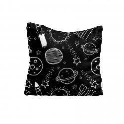 Siyah Zemin Gezegenler ve Roketler Erkek Çocuk  Kırlent-KIR256