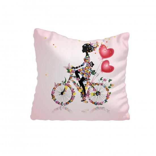 Bisikletli Prenses Kız Çocuk Odası Kırlent-KIR530