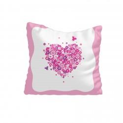 Çiçekli Kalp Kız Çocuk Odası Kırlent-KIR582