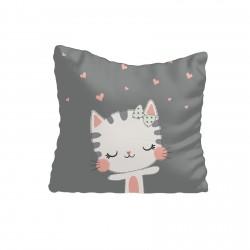 Sevimli Kedi ve Kalpler Kız Çocuk  Kırlent-KIR627