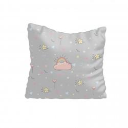 Gri Zemin ve Sevimli Yıldızlar Kız Çocuk  Kırlent-KIR667