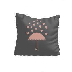 Gri Zemin Pembe Şemsiye ve Kalp Kız Çocuk  Kırlent-KIR694