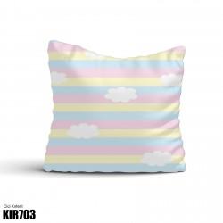 Gökkuşağı Zemin ve Beyaz Bulutlar Kız Çocuk  Kırlent-KIR703