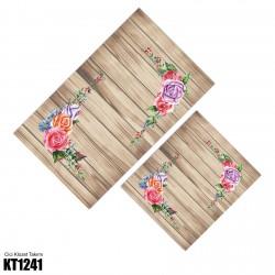 Açık Ahşap Zemin Köşe Çiçek Dekoratif Klozet Takımı-KT1241
