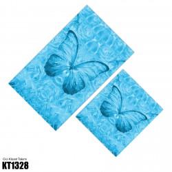 Açık Mavi Kelebek Temalı Dekoratif Klozet Takımı-KT1328