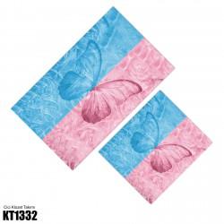 Açık Mavi Pembe Kelebek Temalı Dekoratif Klozet Takımı-KT1332