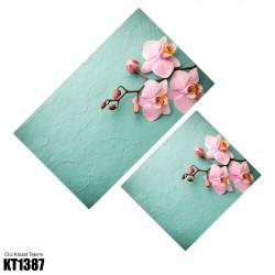 Açık Yeşil Zeminli Dallı Çiçek Dekoratif Klozet Takımı-KT1387
