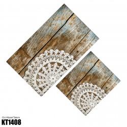 Ahşap Zemin Büyük Motif Dekoratif Klozet Takımı-KT1408