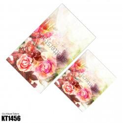 Açık Tonlarda Büyük Çiçek Dekoratif Klozet Takımı-KT1456