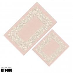 Açık Zemin Beyaz Motif Dekoratif Klozet Takımı-KT1480
