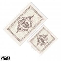 Açık Kahverengi Kenar Motifli Dekoratif Klozet Takımı-KT1492