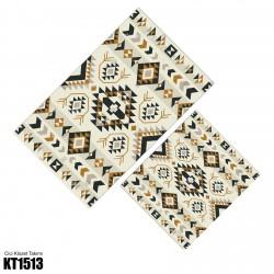 Açık Desen Kahve Tonlu Kilim Desenli Dekoratif Klozet Takımı-KT1513