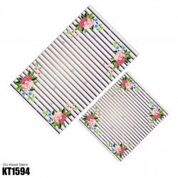 Açık Çizgili Zemin Köşe Çiçek Desen  Klozet Takımı-KT1594